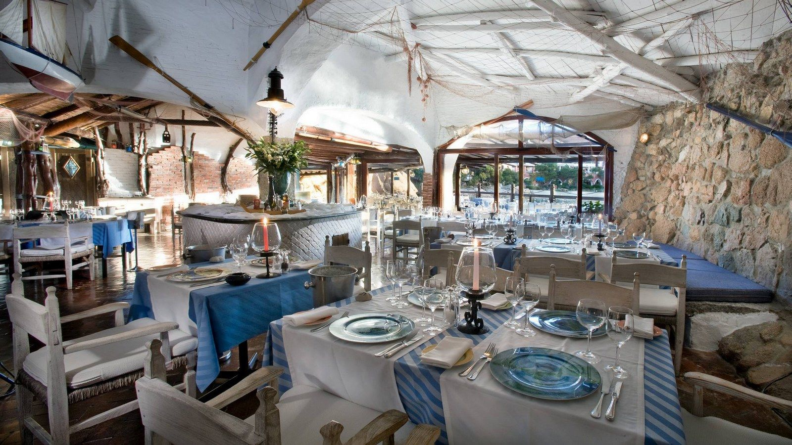 Interior of Pescatore Restaurant at Costa Smeralda